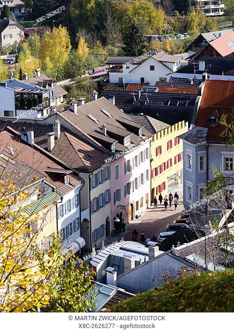 View of the old town of Bruneck - Brunico. Bruneck - Brunico in the Puster Valley - Pusteria in South Tyrol - Alto Adige