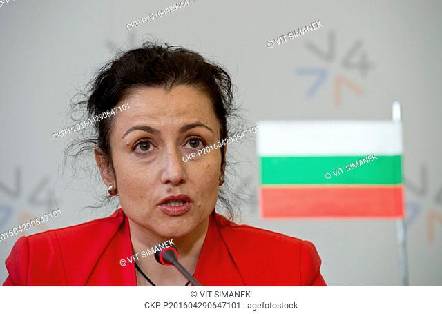 Bulgarian Agriculture Minister Desislava Taneva speaks during the press conference after talks of agriculture ministers of Visegrad Four countries (CR, Slovakia