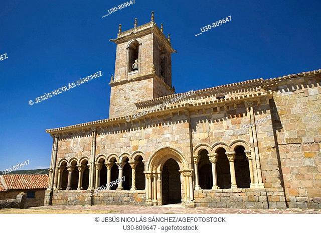 Romanesque church porticoed of San Juan y Santa Basílica; in Rebolledo de la Torre, in northern Burgos, Castilla y León, Spain, Europe