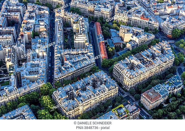 France, 7th arrondissement of Paris, Haussmannian buildings seen from the Eiffel Tower (avenue de la Bourdonnais, avenue Rapp