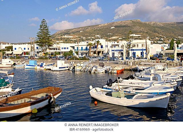 Boats in the harbour of Parikia, Paros, Cyclades, Greece