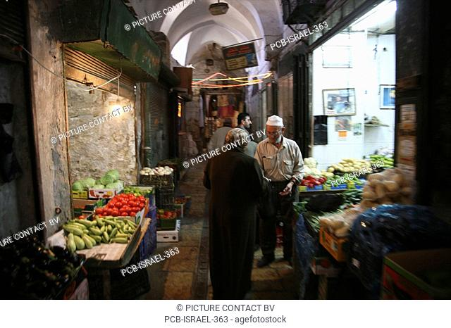 A market in the old city section of Jerusalem