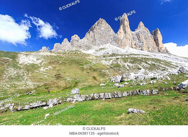 Views of the Three Peaks of Lavaredo on a summer day, Sesto Dolomites Trentino Alto Adige Italy Europe