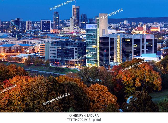 Lithuania, Vilnius, Cityscape at night