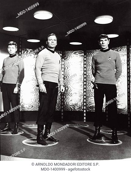 William Shatner, Jackson DeForest Kelley and Leonard Nimoy in Star Trek. The Canadian actor William Shatner and the American actors Jackson DeForest Kelley and...