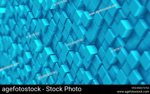 Slow motion blue 3D cubes as animation video loop background