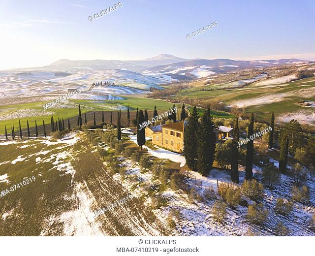 Orccia valley in winter season, Tuscany, Siena province, Italy, Europe