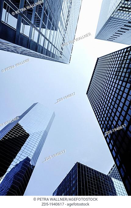 Manhattan Financial District, New York City, low angle shot of high rise buildings with The Broad Financial Center, PublicGround