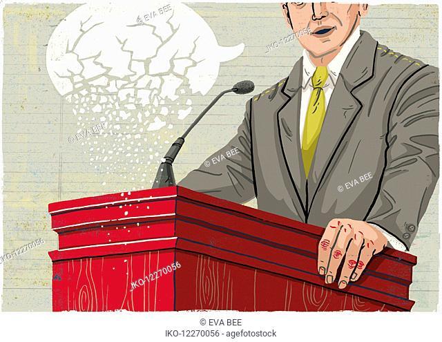 Politician making speech with crumbling speech bubble