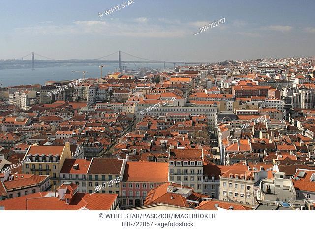 City view from San Jorge Castle, Lisbon, Região de Lisboa, Portugal, Europe