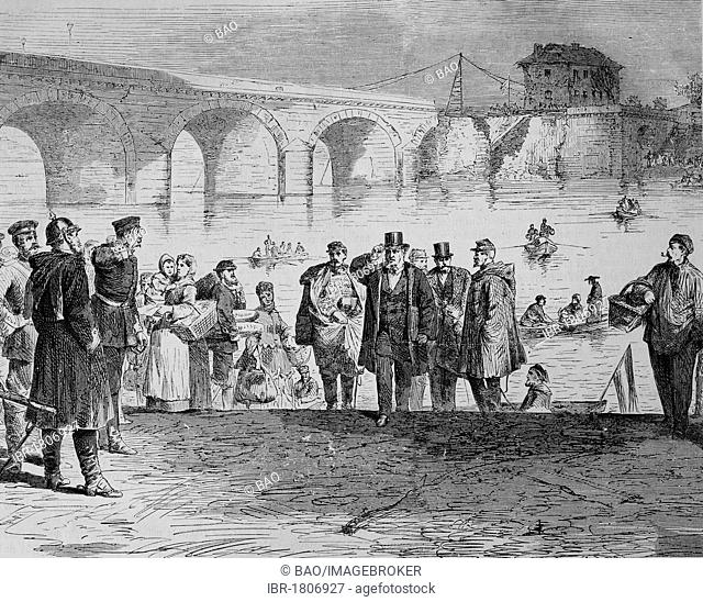 Jules Fabres arrival at the Sebres Bridge in Paris in the first week of the truce, Illustrierte Kriegschronik 1870 - 1871, Illustrated War Chronicle 1870 - 1871