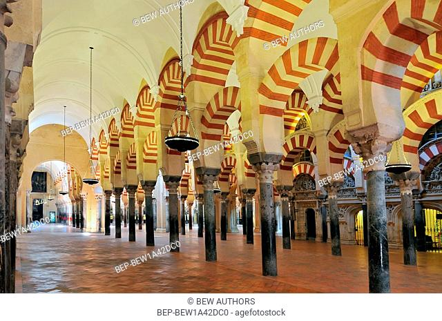 Interior of the Mezquita (Cathedral-Mosque), Cordoba, Andalucia, Spain