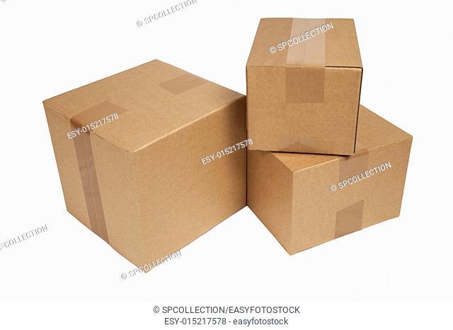 three carton on a white background