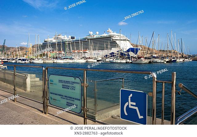 On background Cartagena cruise terminal, crucero Royal Princess, Harbour, Promenade, Mediterranean Sea Cartagena City, Murcia Region, Spain, Europe