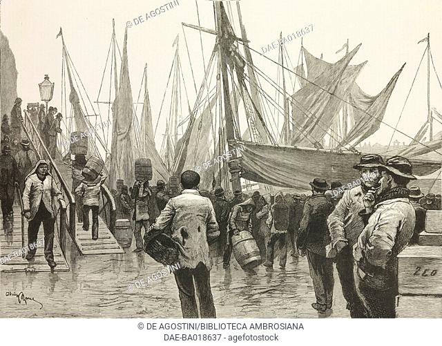 Early morning, Billingsgate, London, United Kingdom, illustration from the magazine The Graphic, volume XXIII, n 591, March 26, 1881