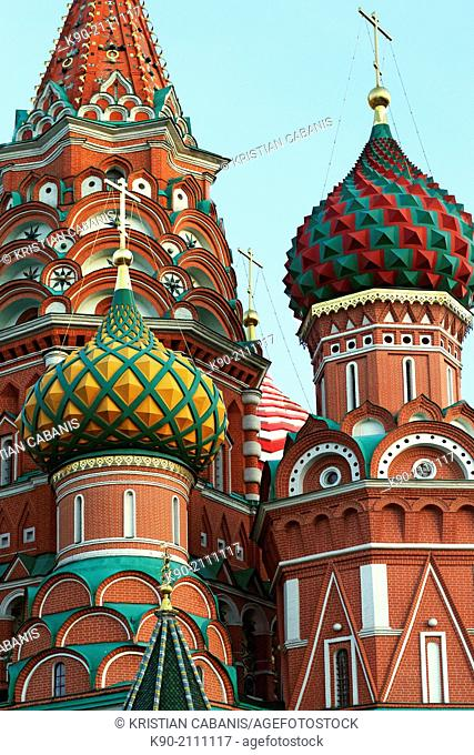 Two small towers of the St. Basils cathedral, Red Square, Moscow, Russia, Europe
