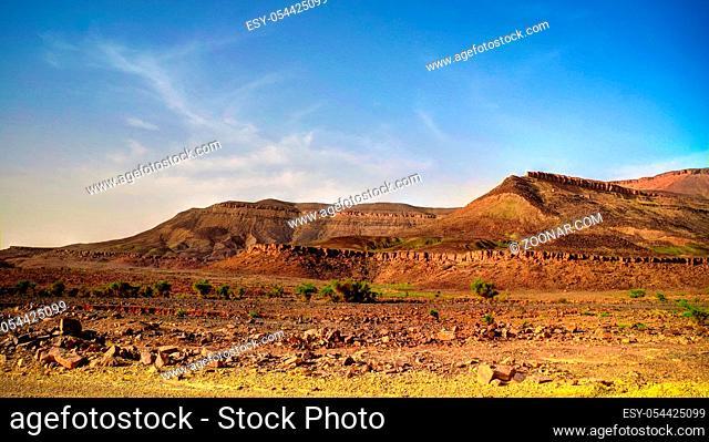 Panorama with Adrar mountain , Terjit, rocks and gorge, Mauritania