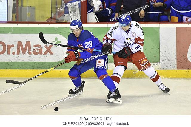 Marian Studenic of Slovakia, left, and David Tomasek of Czech Republic in action during the Euro Hockey Challenge match Slovakia vs Czech Republic in Trencin