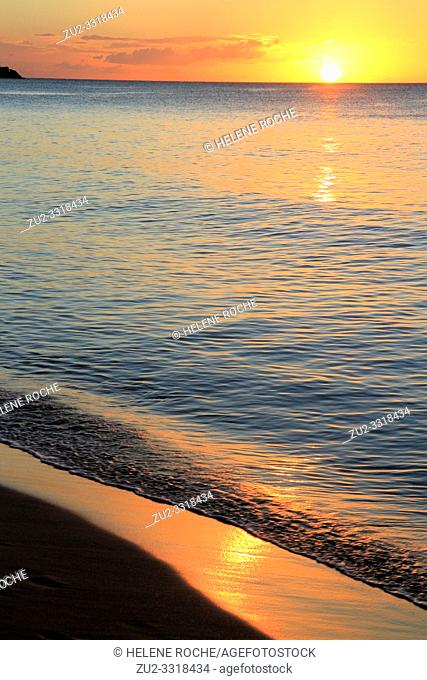 Grande anse beach at sunset, Deshaies, Guadeloupe, Basse-Terre, Caribbean islands, France