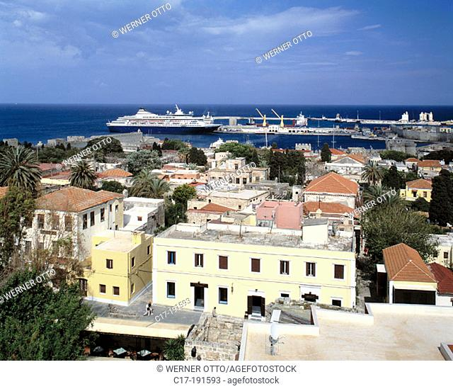 Greece, Rhodes, Dodecanese, Rhodes Town, view across the old town, Commercial Harbour