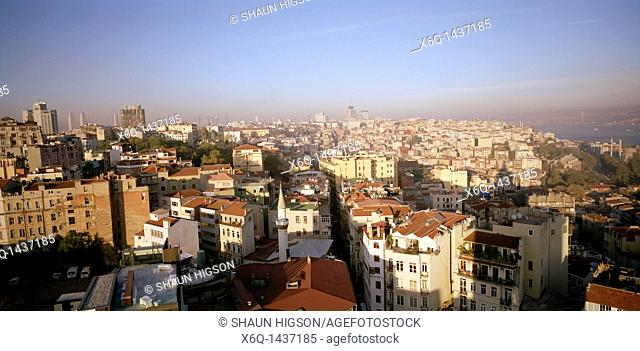 A panoramic view over the district of Beyoglu in Istanbul in Turkey in the Middle East