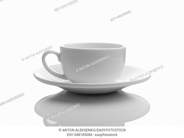 Isolated white empty cup with a saucer on white background