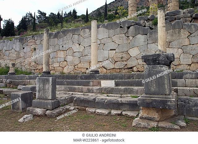 greece, delphi, archeological area, stoa of the athenians