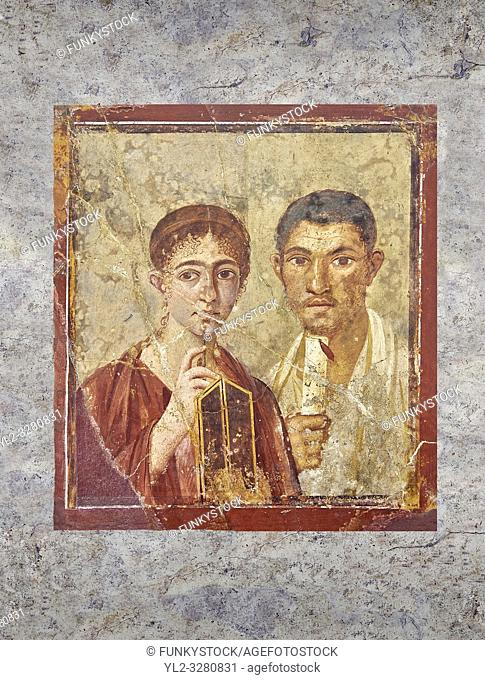 Roman fresco portrait of a baker, Terentius, and his wife in the pose of intellectuals, Naples National Archaeological Museum