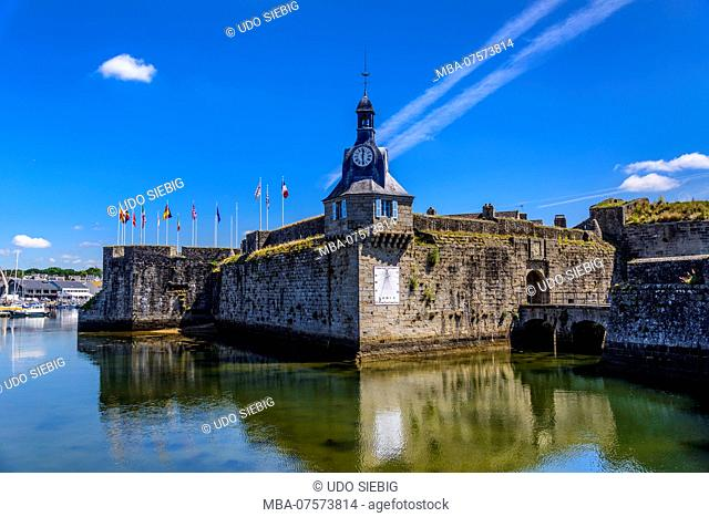 France, Brittany, Finistère Department, Concarneau, Ville Close, gate and clock tower