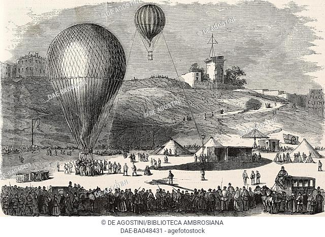 A hot air postal balloon departing from Place Saint-Pierre to Montmartre, Siege of Paris, France, Franco-Prussian war, illustration from L'Illustration