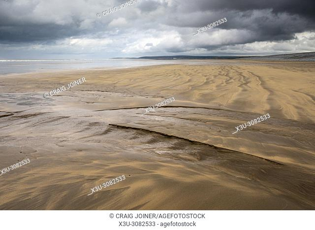 Patterns left in a sandy beach by the retreating tide at Westward Ho!, North Devon, England