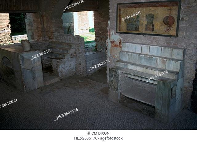 Interior of a food-shop or bar in the Roman city of Ostia, 2nd century