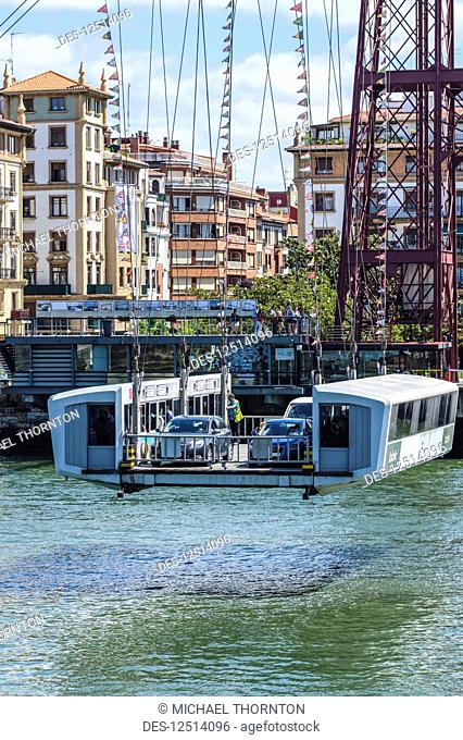 Vizcaya Bridge, the first mechanical transporter bridge in the world, viewed from Portugalete side; Portugalete, Vizcaya, Pais Vasco, Spain
