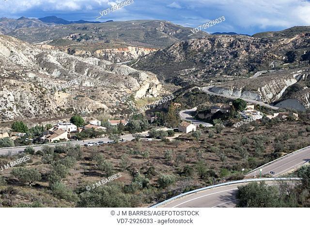 Molinos del Rio Aguas repopulated village in gypsum karst of Sorbas. Almeria province, Andalucia, Spain