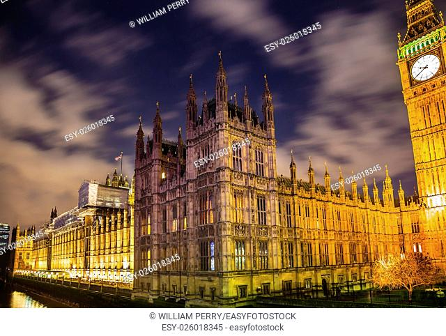 Big Ben Tower Westminster Bridge Thames River Night Houses of Parliament Westminster London England. Named after the Bell in the Tower