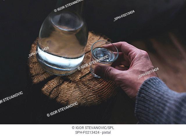 Man drinking rakija