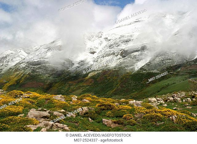 Snowy mountains at Somiedo National Park, Asturias, Spain, Europe