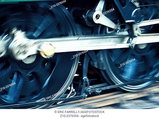Wheels of a Steam Train in motion