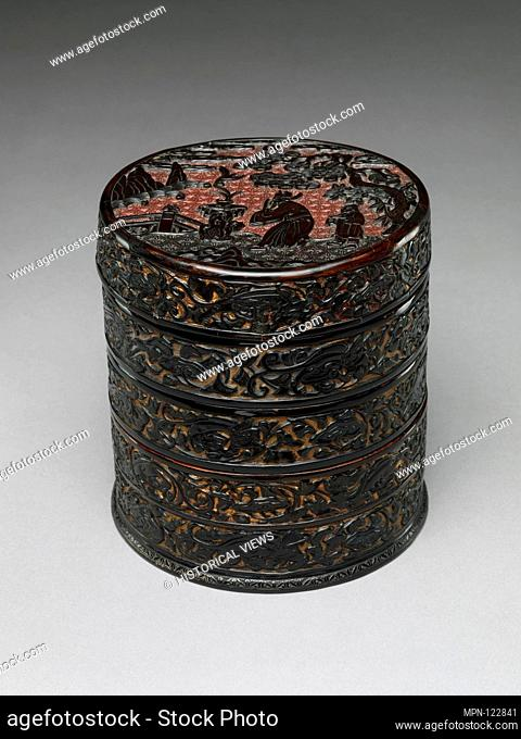 Tiered Box with Scholar-Official in a Landscape. Period: Ming dynasty (1368-1644); Date: late 14th century; Culture: China; Medium: Carved black lacquer on...