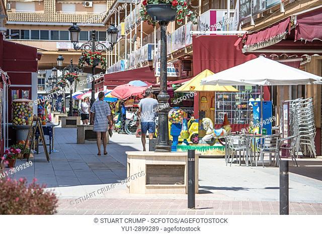 Shopping street in Los Alcazares in Murcia Spain