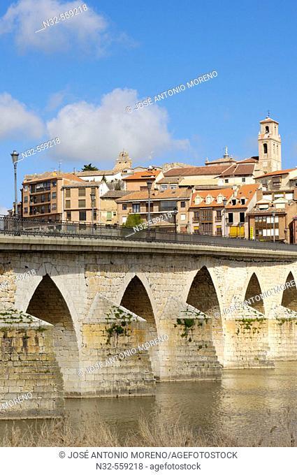 Medieval bridge over Duero river. Tordesillas. Valladolid province. Castilla y Leon. Spain