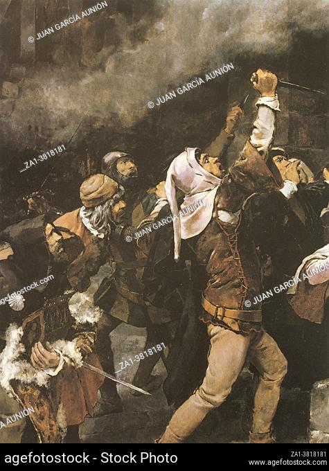 Massacre of Jews carried out in the Middle Ages in the city of Toledo. Painted by Vicente Cutanda y Toraya in 1887. MBA Zaragoza