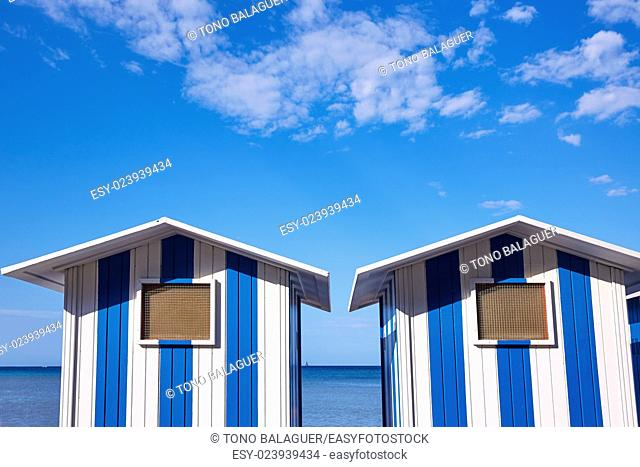 Denia beach blue and white stripes in Mediterranean Spain of Älicante