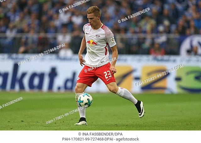 Marcel Halstenberg of Leipzig in action during the German Bundesliga football match between FC Schalke 04 and RB Leipzig at the Veltins Arena in Gelsenkirchen