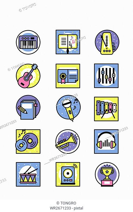 Various icons related to music education