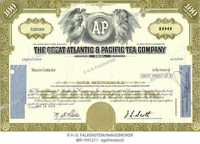 Historical share of The Great Atlantic & Pacific Tea Company, Maryland, USA, 1975