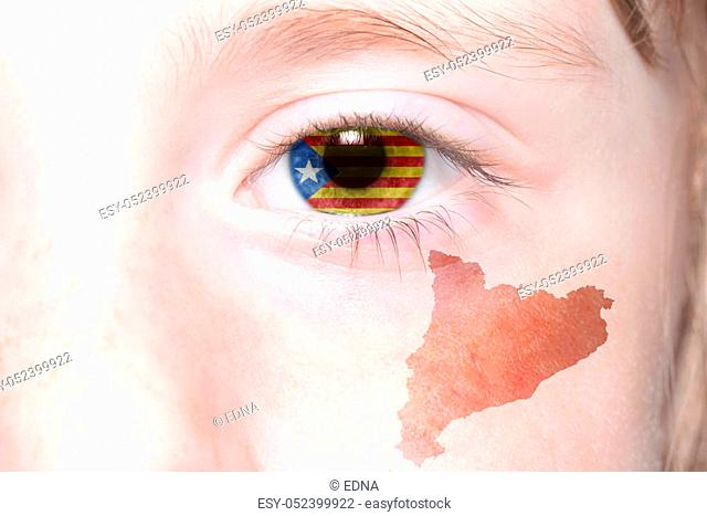 human's face with national flag and map of catalonia. concept