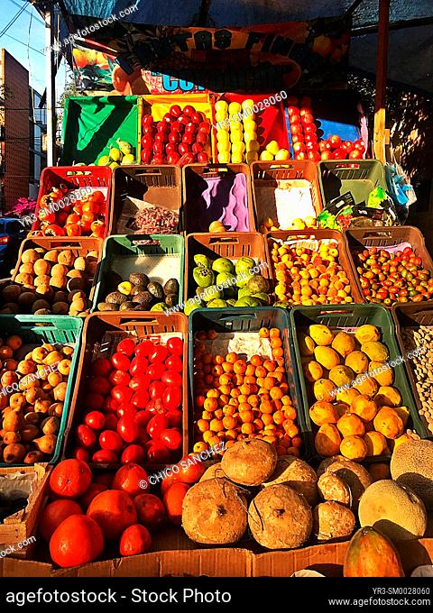 Fruits for sale in a street shop in Mexico City, Mexico