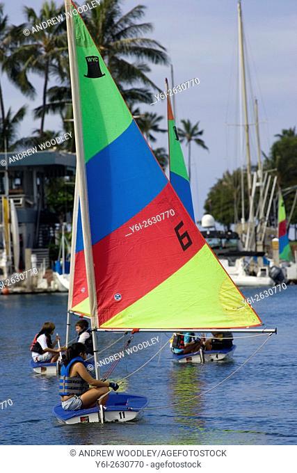 Sailing school youngsters Ala Wai Canal Honolulu Hawaii USA