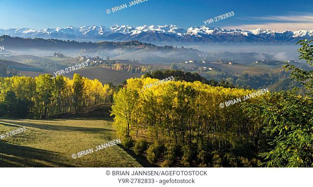 Autumn view across the Po Valley to the Ligurian Alps near Monforte d'Alba, Piemonte, Italy